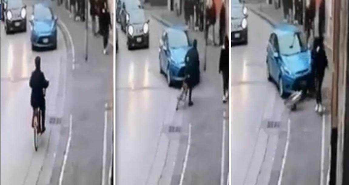 pomigliano donna in bici investita video