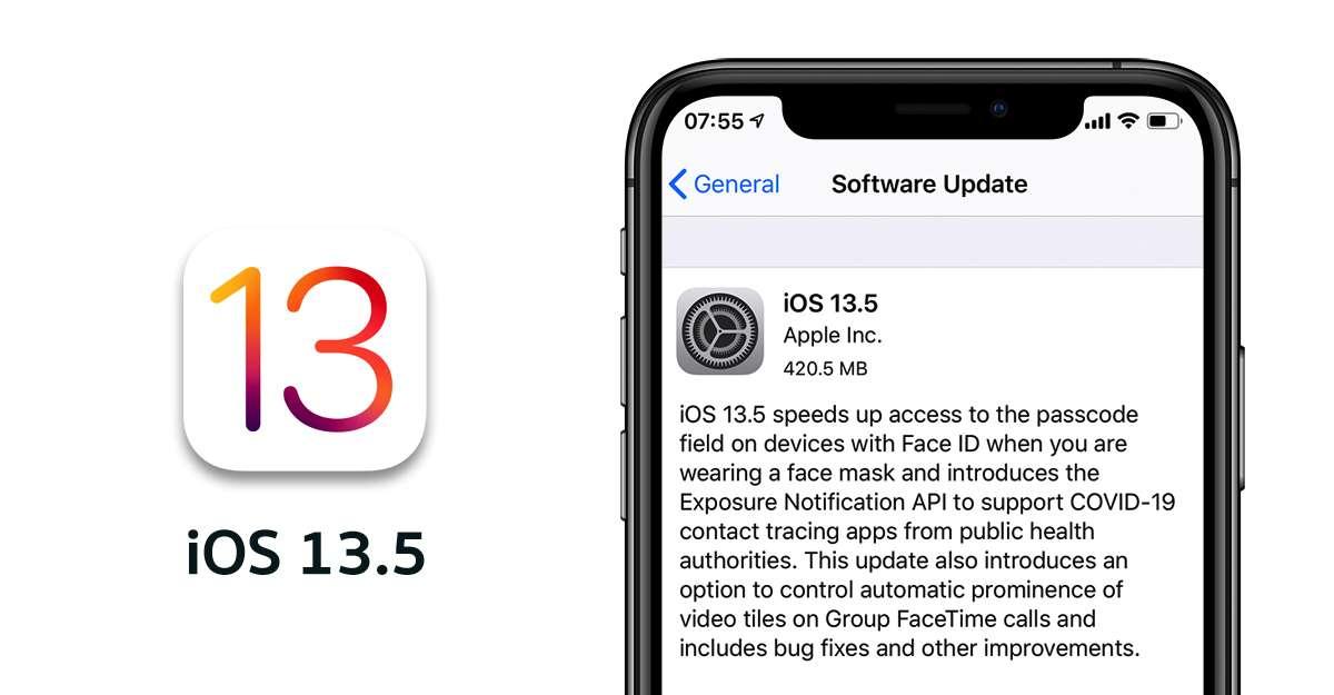 Aggiornamento IOS, Apple, 13.5/2020