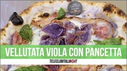 """Pizza Pizzae, la """"Vellutata viola con pancetta"""" di Lievito Madre a Giugliano"""