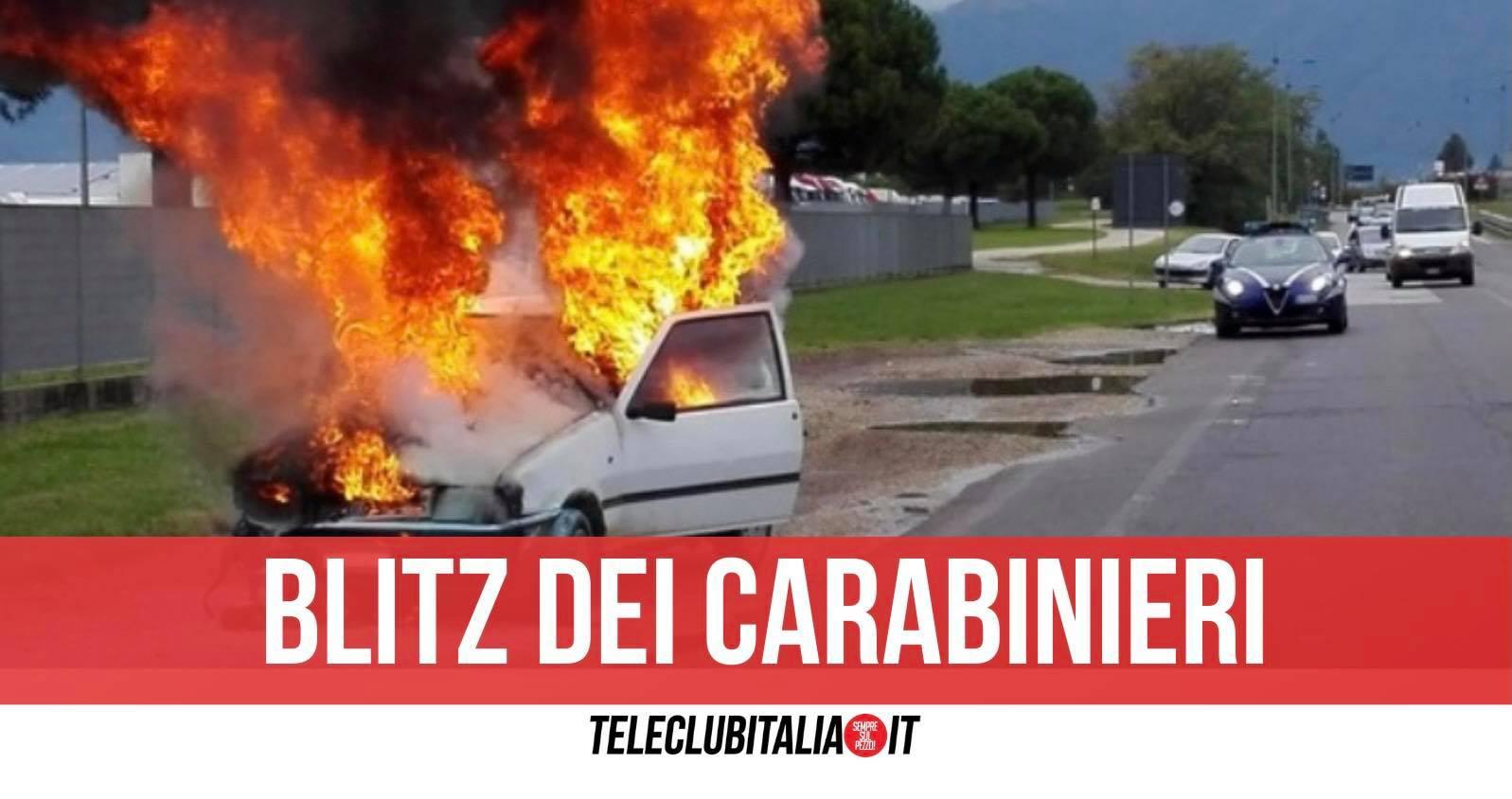 auto in fiamme due fermi campo rom giugliano