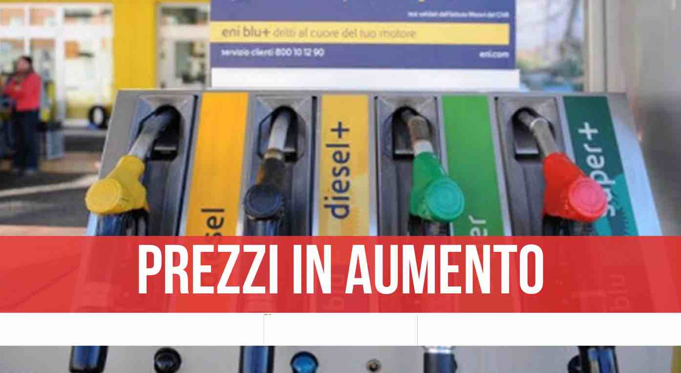 prezzo aumento benzina