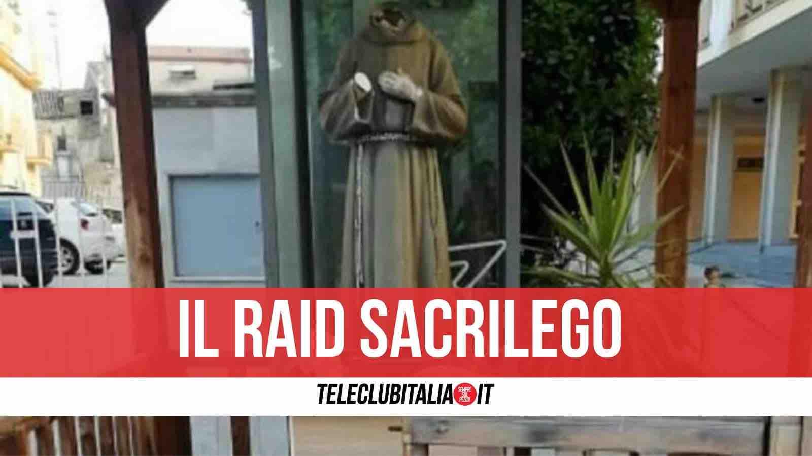 decapitata statua padre pio san clemente