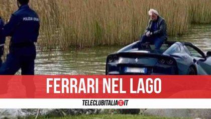 Parcheggia e lascia in folle: finisce con la Ferrari nel lago di Garda