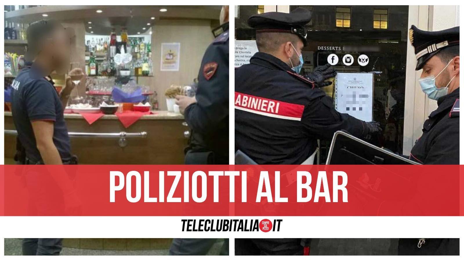 poliziotti al bar corigliano multati