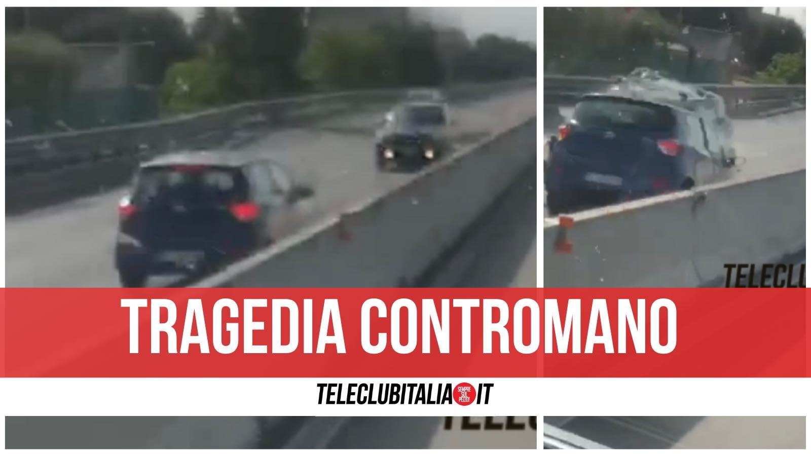 statale 16 fasano incidente contromano morti video