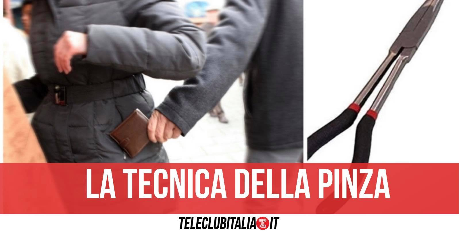 borseggiatori tecnica pinza