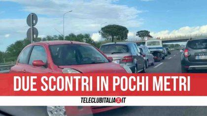 Due incidenti sulla Pontina, un'auto prende fuoco: traffico paralizzato