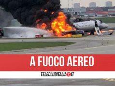 catania roma volo aereo incendio motore