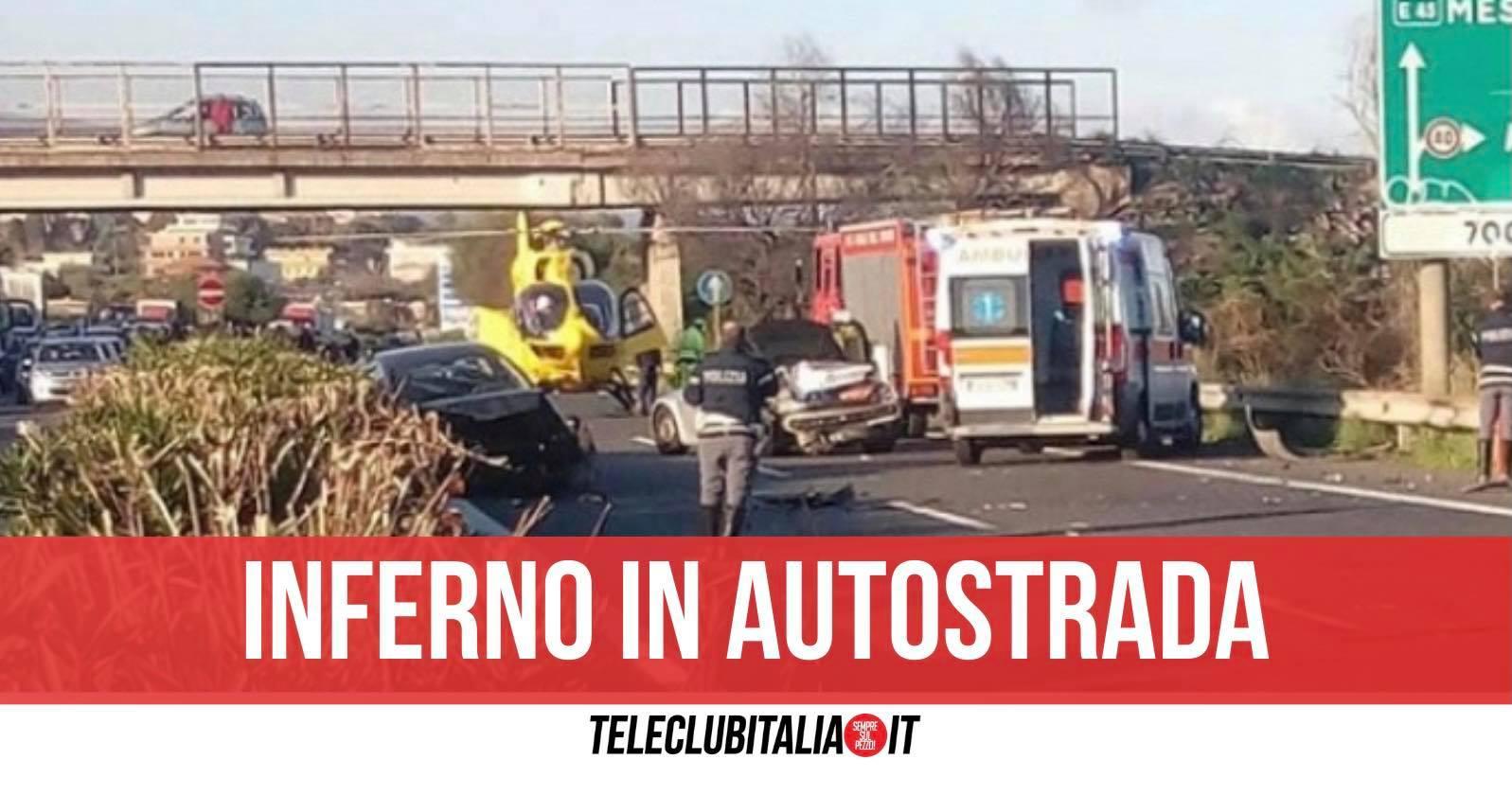 incidente a18 messina catania due morti