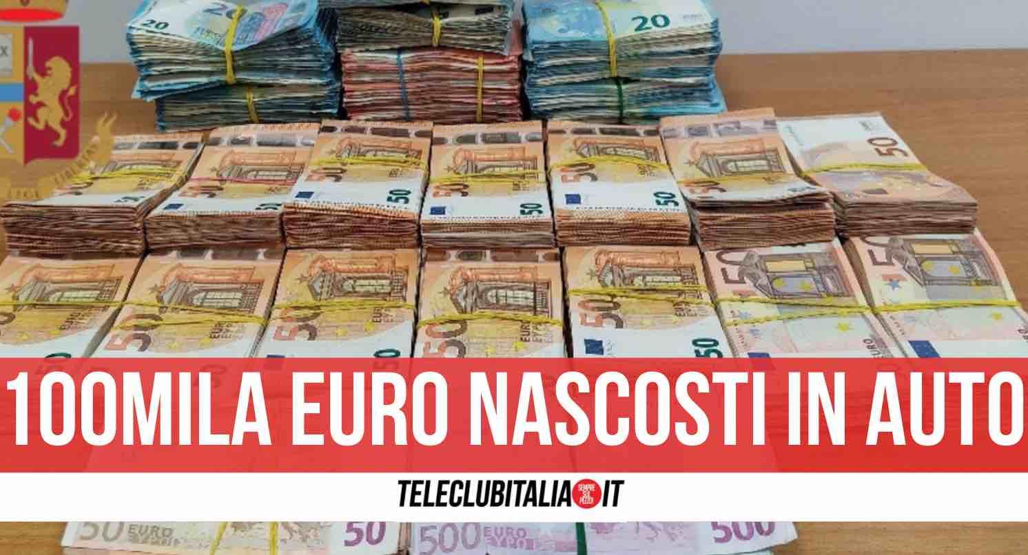 napoli 100mila euro nascosti auto