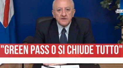 """De Luca in diretta: """" Ok al Green Pass o si rischia di richiudere tutto"""""""